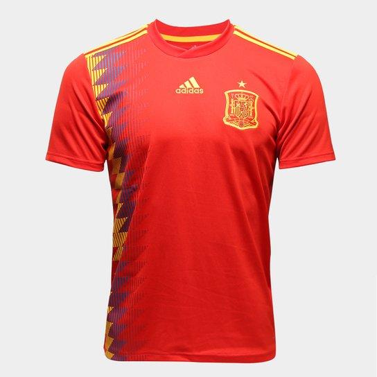 Camisa Seleção Espanha Home 2018 s n° Torcedor Adidas Masculina - Vermelho a6debc44cec93