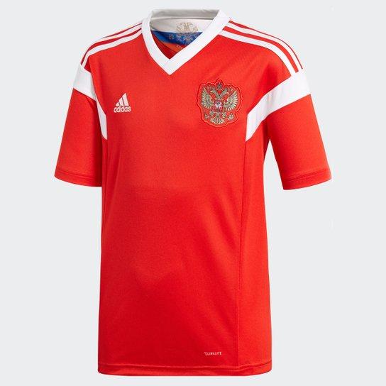 Camisa Seleção Rússia Infantil Home 2018 s n° Torcedor Adidas - Vermelho 9659c32097c0d