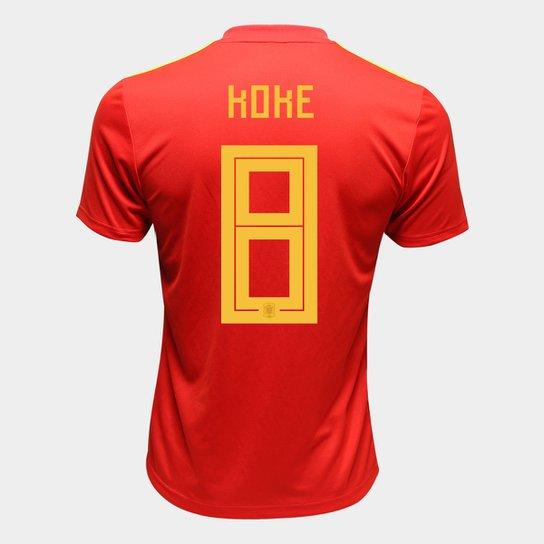 Camisa Seleção Espanha Away 2018 n° 8 Koke - Torcedor Adidas Masculina -  Vermelho 7aaabf03dfa3d
