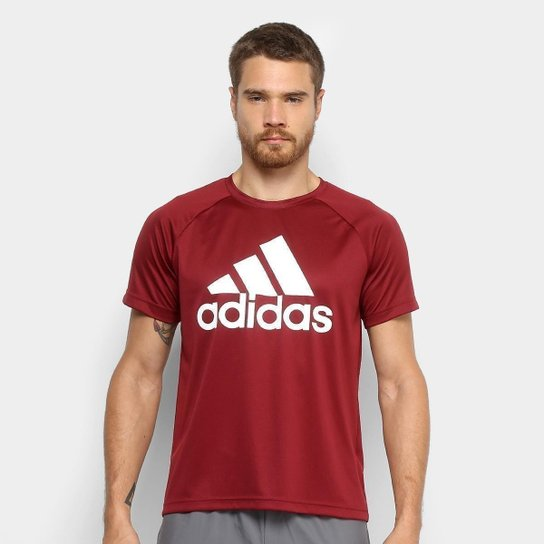 Camiseta Adidas D2M Logo Masculina - Vermelho - Compre Agora  ae11e2a23a172