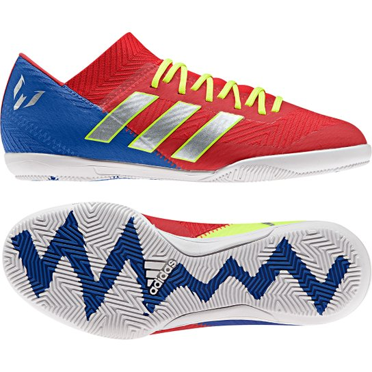 42066806b6 Chuteira Futsal Infantil Adidas Nemeziz Messi 18 3 IN - Vermelho e ...