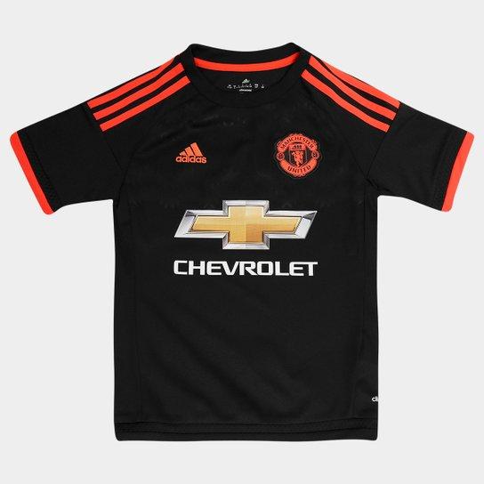 a08d4aa124d92 Camisa Manchester United Infantil Third 15/16 s/nº Torcedor Adidas - Preto+