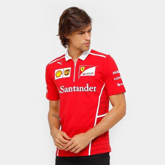 5e0a4c6b73f8c Camiseta Polo Puma Scuderia Ferrari Team Masculina - Vermelho
