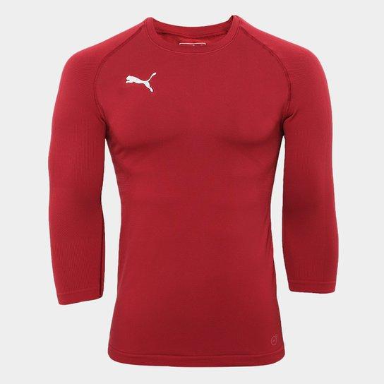 23bc9c9bae Camiseta Compressão Puma Manga Longa Futebol Next Masculina - Vermelho