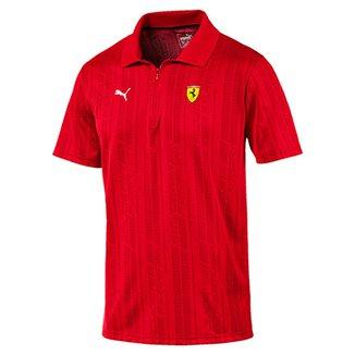 3cf23f983a Camiseta Polo Puma Scuderia Ferrari Jacquard Masculina