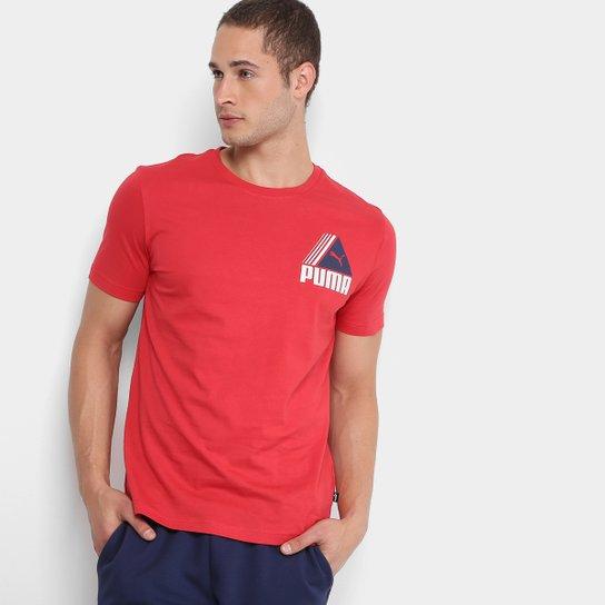 Camiseta Puma TRI Retro Masculina - Vermelho - Compre Agora  8281e4e36375a