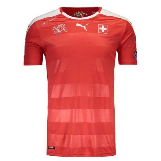 Camisa Puma Suíça Home 2016 Eliminatórias FIFA Masculina - Vermelho ... 53c48f59865e3