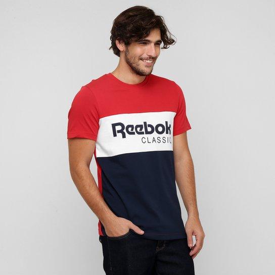 5968028b4b0 Camiseta Reebok Classic Archive Stripe - Vermelho+Marinho