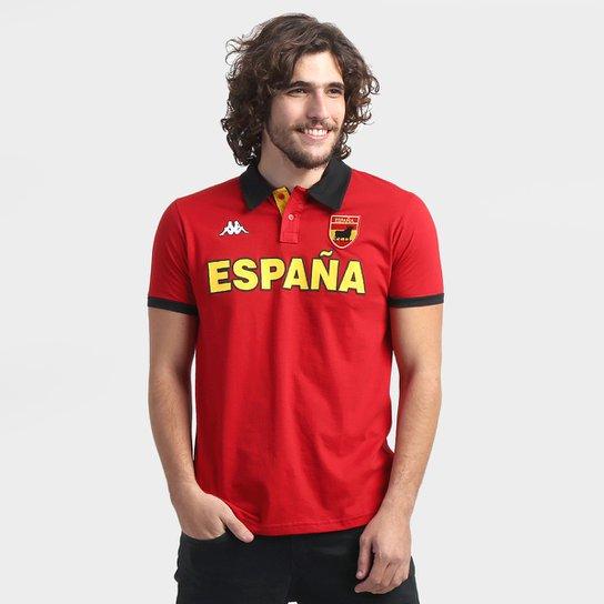 Camisa Polo Espanha Kappa Bravas Masculina - Vermelho+Preto b36889fbb3422