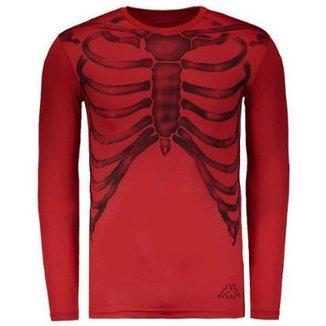 89fc61f5fdd9a Camisa Térmica Kappa Caveira Manga Longa Vermelha