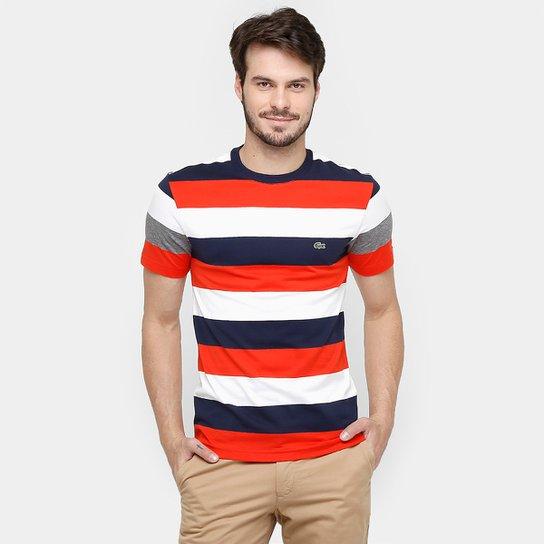 99a179c6b6 Camiseta Lacoste Listras Logo - Compre Agora