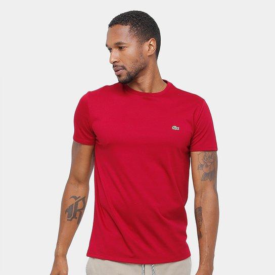 3c0fd2ca2e4 Camiseta Lacoste Básica Jersey Masculina - Vermelho - Compre Agora ...