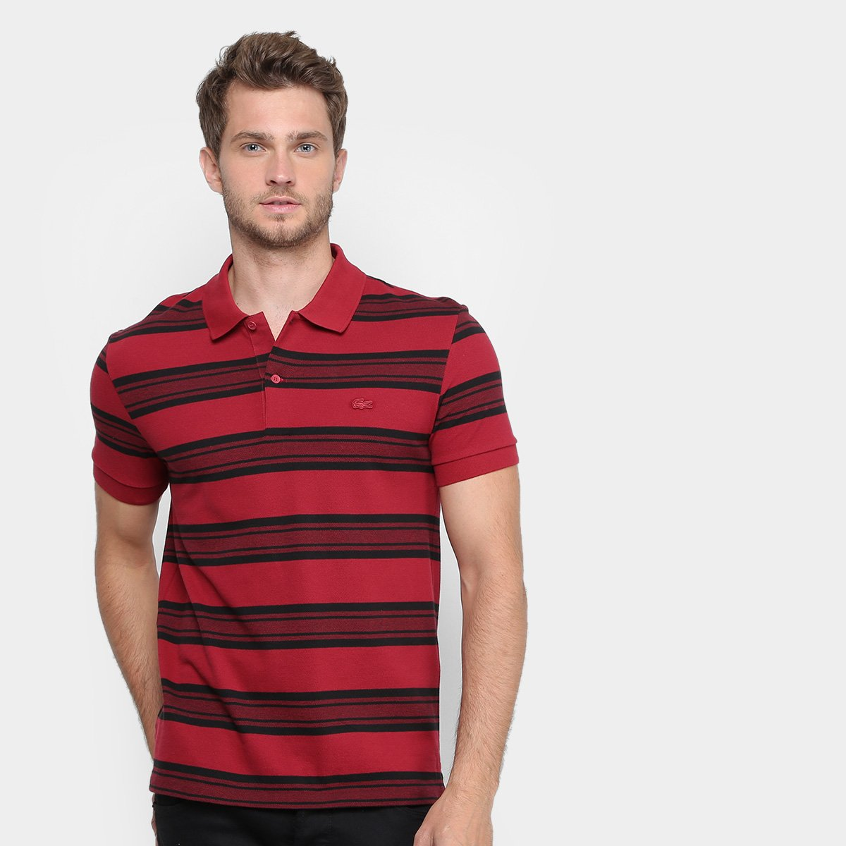 Camisa Polo Lacoste Piquet Regular Fit Listras Masculina  9f01f0f7c3fa1