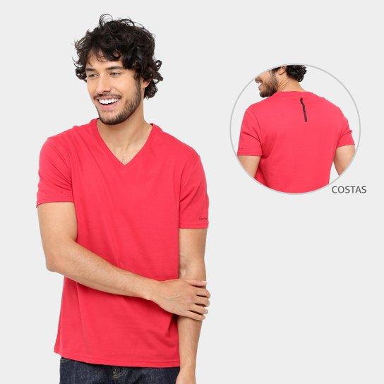ed53e96578 Camiseta Calvin Klein Gola V Cavada Masculina - Vermelho