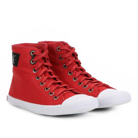 b70e0e2730 Sapatênis Calvin Klein Cano Alto Lona Masculino - Vermelho