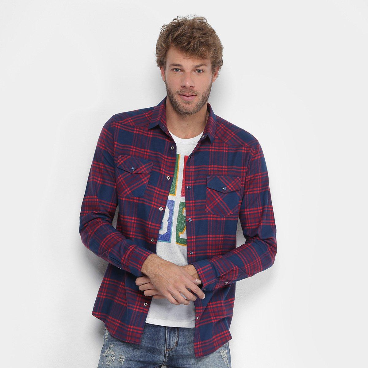 f70d413dd6 Camisa Xadrez Calvin Klein Flanelada Bolso Masculina