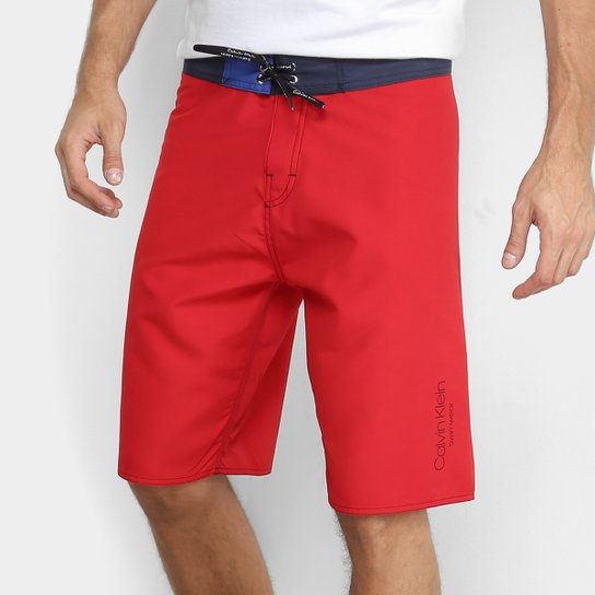 Bermuda D Água Calvin Klein Básica Masculina - Vermelho - Compre ... 952deebf36
