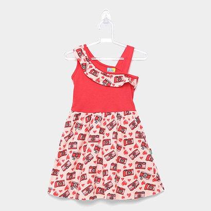 Vestido Infantil Up Baby Evasê Estampa Corações