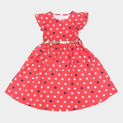 Vestido Infantil Quimby Com Cinto Poá