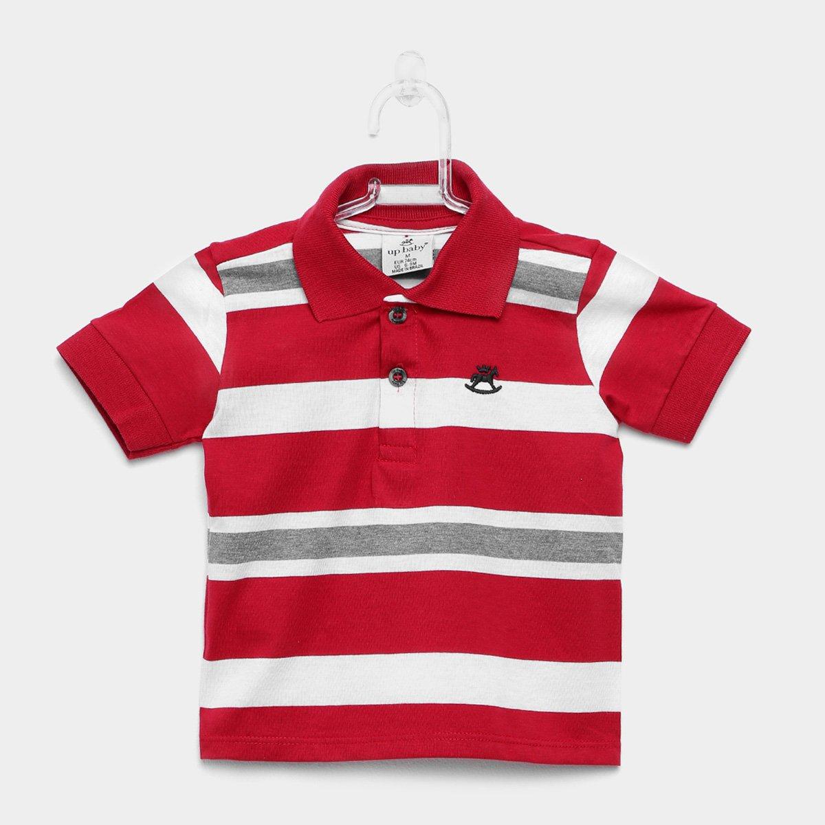 6d5a95c36 Camisa Polo Infantil Up Baby Malha Listrada Masculina