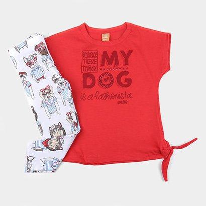 Conjunto Infantil Up Baby Blusa E Calça Legging Dog Feminino