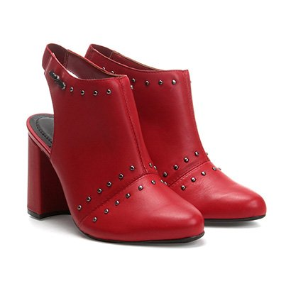 Ankle Boot Cravo & Canela Salto Grosso Tachas