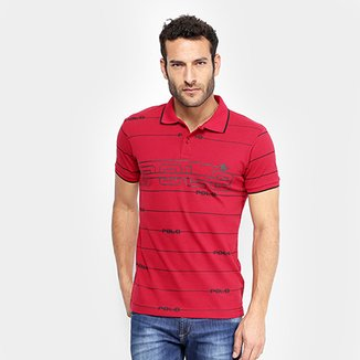 Camisa Polo em Piquet Estampada Polo RG 518 Manga Curta Masculina 3afa70b8a479a