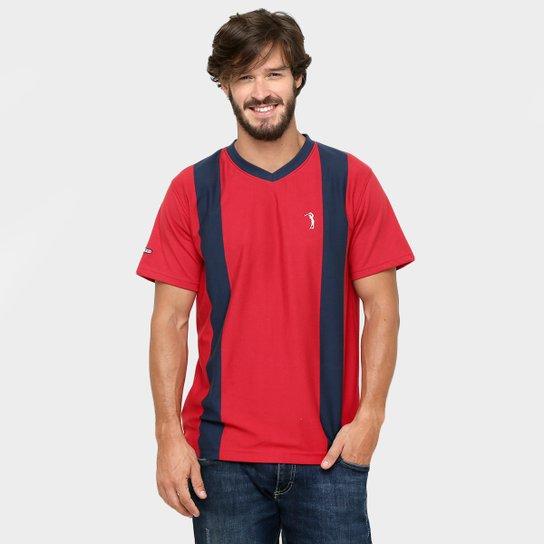 d103abd451 Camiseta Aleatory Gola V Listras - Marinho+Vermelho