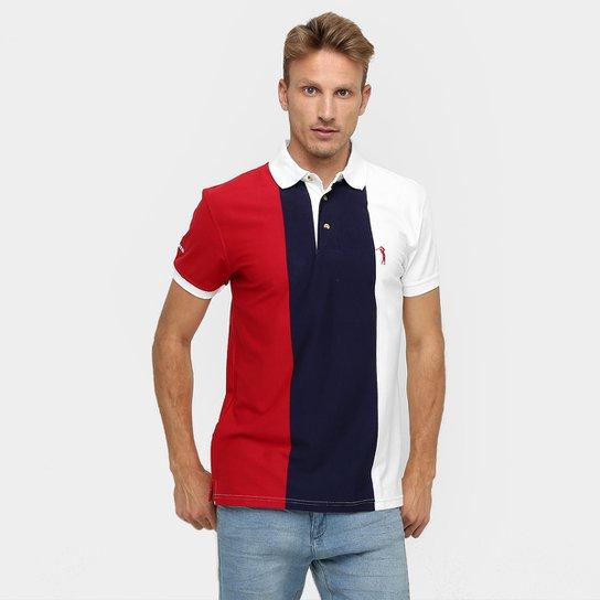 9325c50222 Camisa Polo Aleatory Fio Tinto Listra Vertical - Marinho+Vermelho