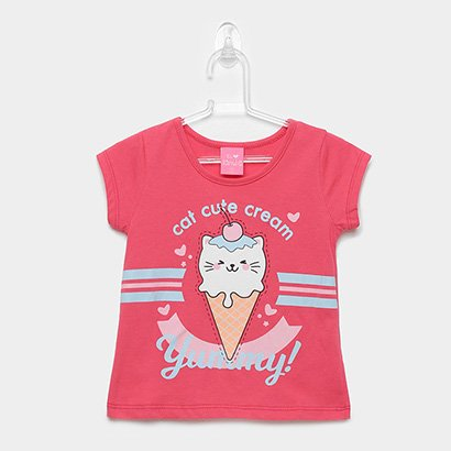 Blusa Infantil Kamylus Cat Cute Cream