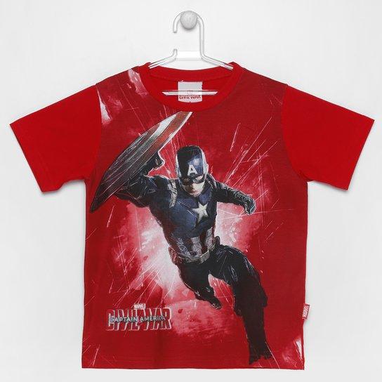 2f29955876 Camiseta Brandili Capitão América Infantil - Vermelho ...