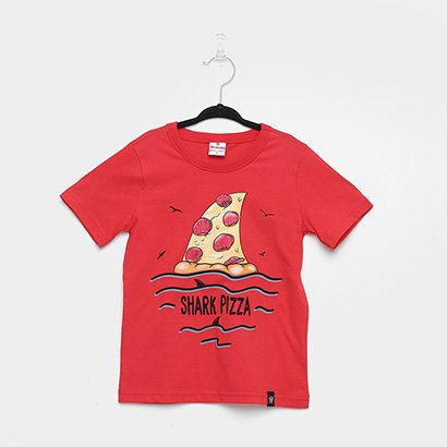 Camiseta Infantil Brandili Shark Pizza Masculina