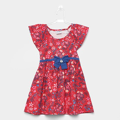 Vestido Infantil Fakini Curto Evasê Estampa Floral Detalhe Laço