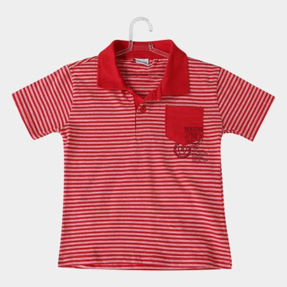 Camisa Polo Infantil Fakini Kids Listrada Bolso Masculina