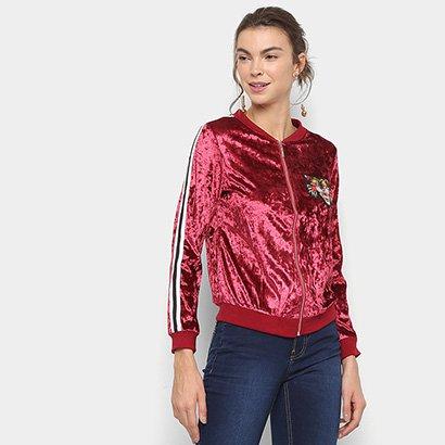 Jaqueta Bomber Lily Fashion Veludo Bordado Tigre Feminina