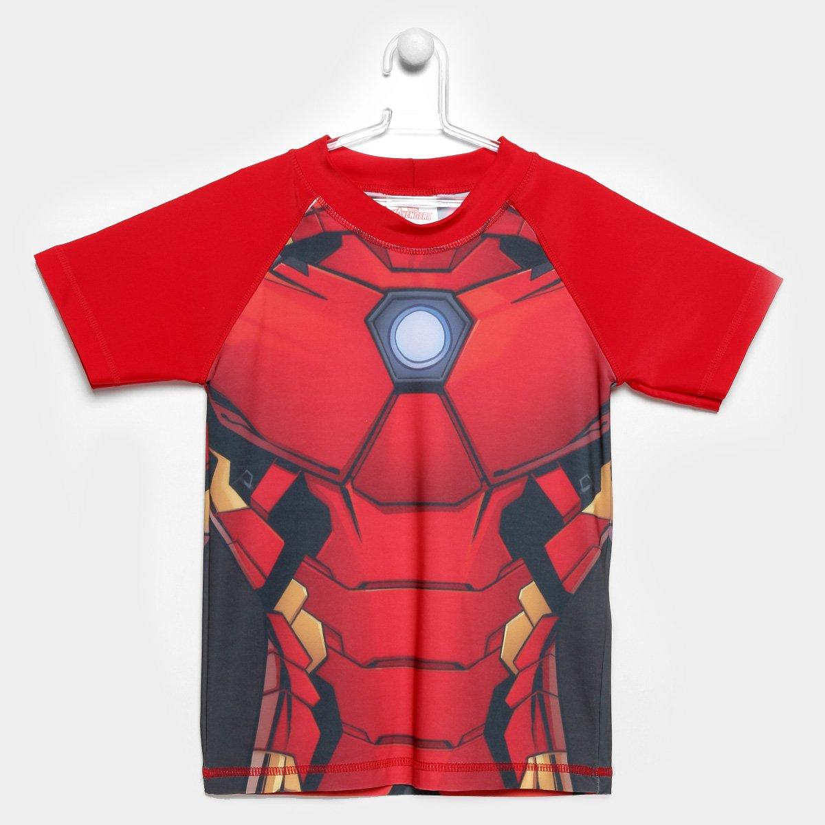 Camiseta de Praia Infantil Tip Top Com Proteção UV 50+ Avengers Manga Curta Masculina