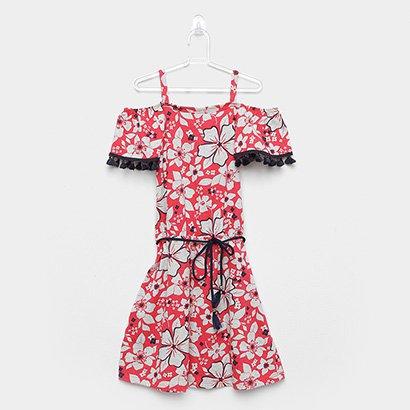 Vestido Infantil Kyly Flores Cinto