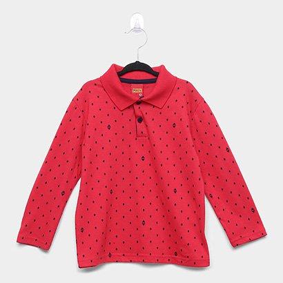 Camisa Polo Infantil Kyly Malha Manga Longa Estampada