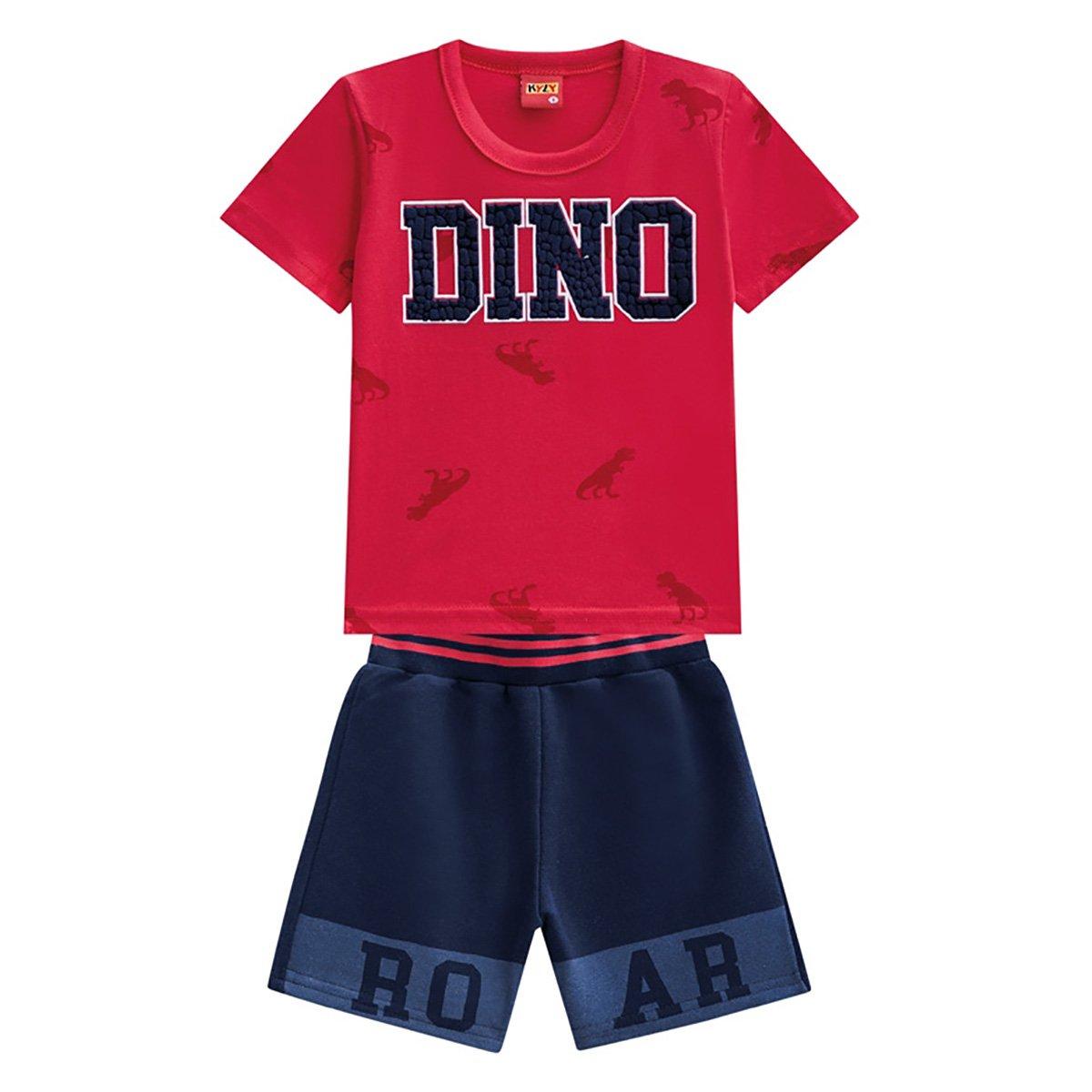 Conjunto Infantil Moletom Kyly Camiseta E Bermuda Dino Masculino