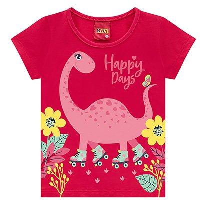 Blusa Infantil Kyly Malha Dino Happy Days Feminina