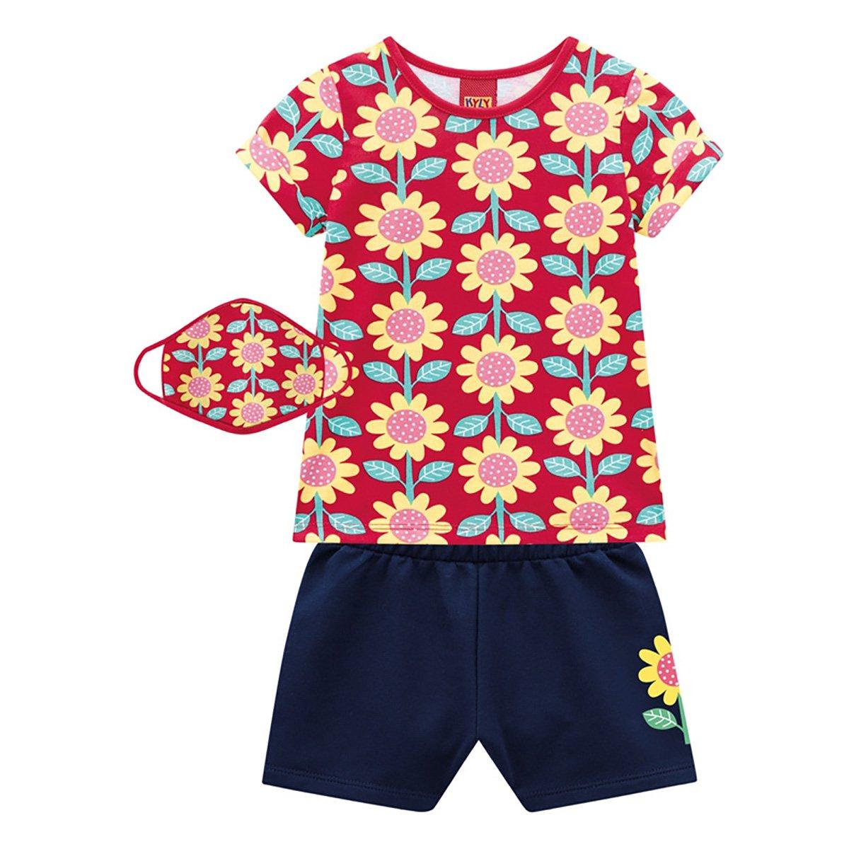 Conjunto Infantil Kyly Floral Feminino + Máscara Infantil