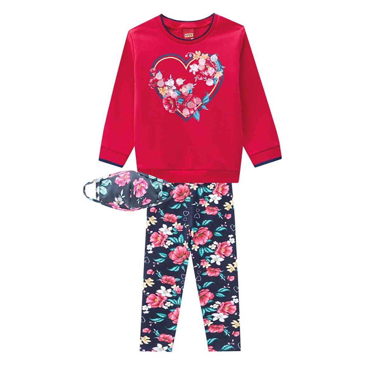 Conjunto Infantil Kyly Floral Moletom Peluciado + Máscara Feminino