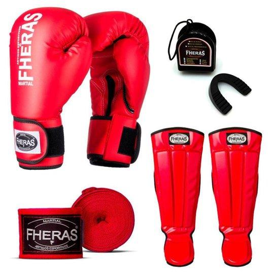 44198a617 Kit Infantil Fheras Luva de Boxe   Muay Thai Tradicional 10 oz + Bandagem+ Bucal
