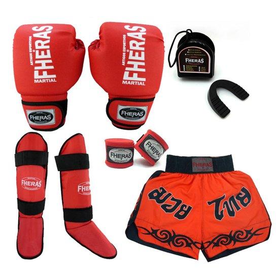 2f60f54c2 Kit Boxe Muay Thai Tradicional Luva Bandagem Bucal Caneleira Shorts(Tribal) 10  oz -