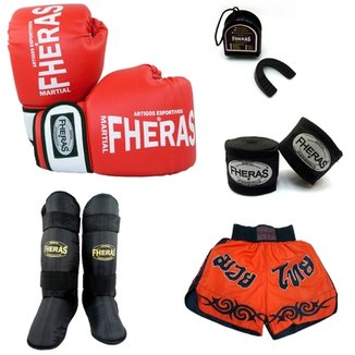 14968fe212 Kit Muay Thai Oríon Luva Bandagem Caneleira Shorts Bucal 14 OZ