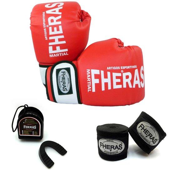 a670b7f85 Kit Boxe Muay Thai Orion Luva Bandagem Bucal Caneleira 08 OZ - Vermelho
