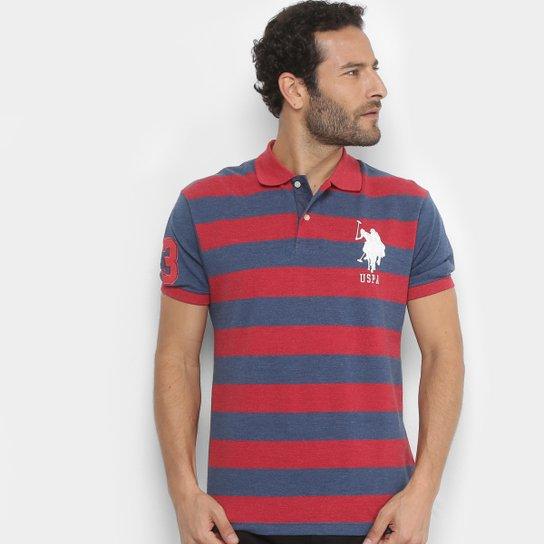 076e8e165b Camisa Polo em Piquet Listrada U.S.Polo Assn Manga Curta Masculina -  Vermelho