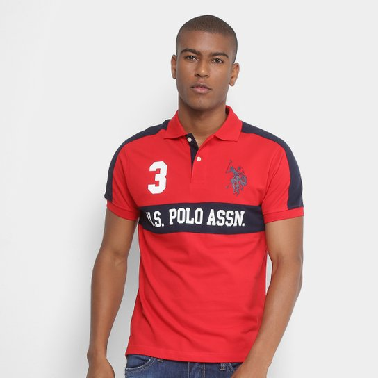 ff64680ea2 Camisa Polo U.S.Polo Assn Piquet Recorte Masculina - Vermelho ...