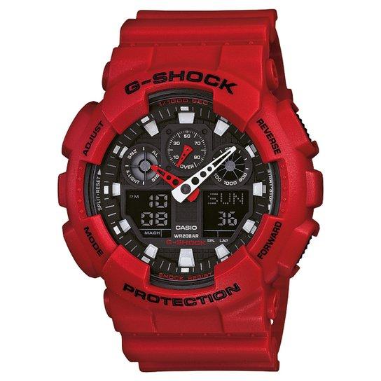 6131227fa64 Relógio G-Shock GA-100 - Vermelho e Preto - Compre Agora