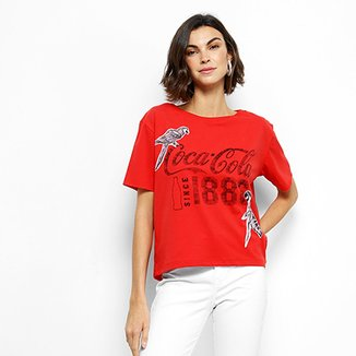8fdb232ad34234 Camiseta Coca-Cola Estampada Aroma Feminina